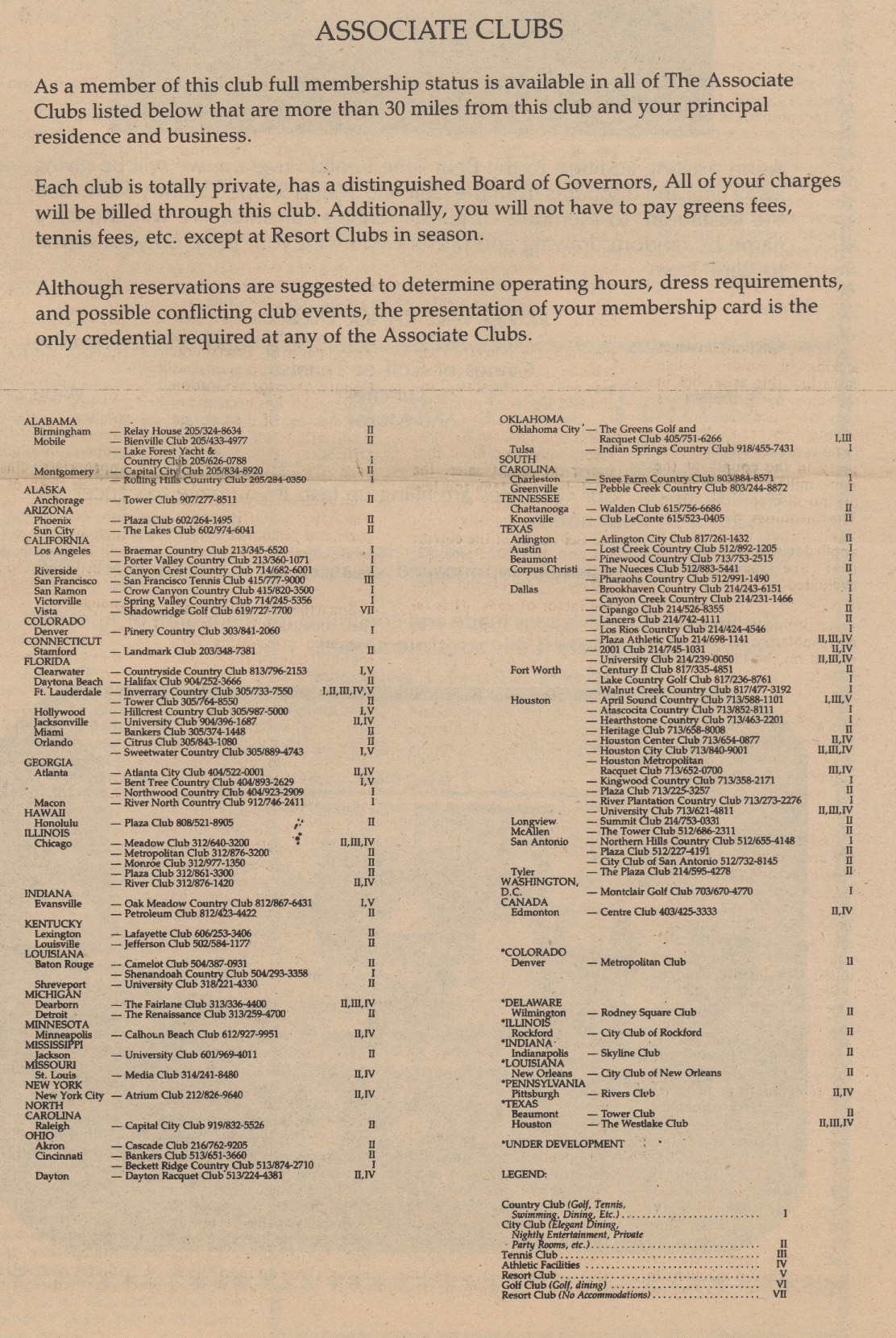1983 clubcorp associate clubs