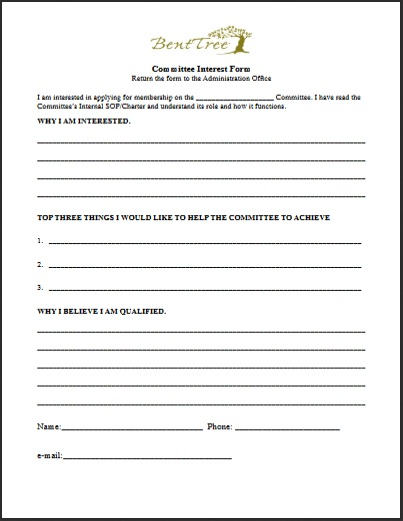 The Committee Interest Form   A Bent Tree Voice
