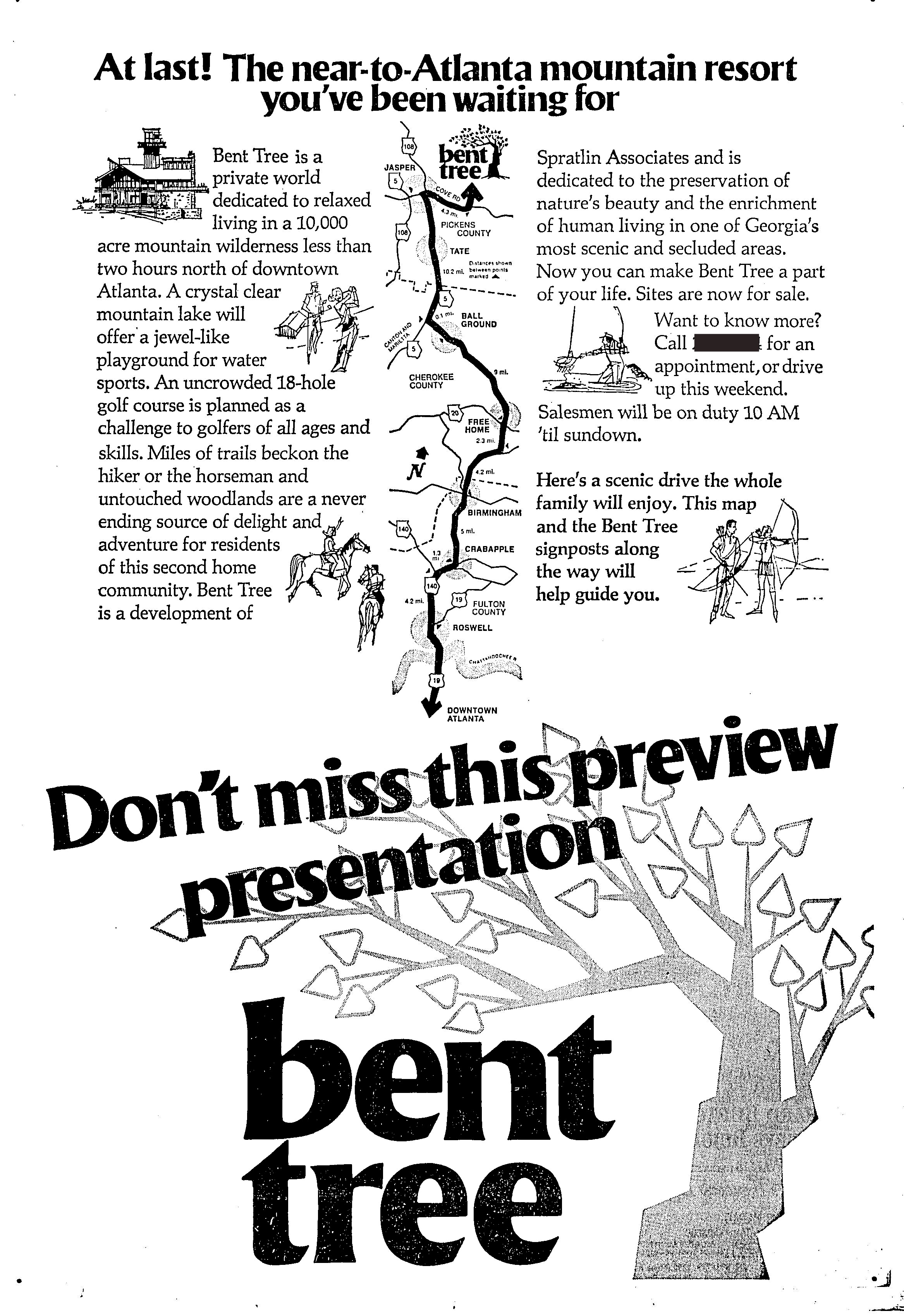 Spring 1970 -ad for Bent Tree