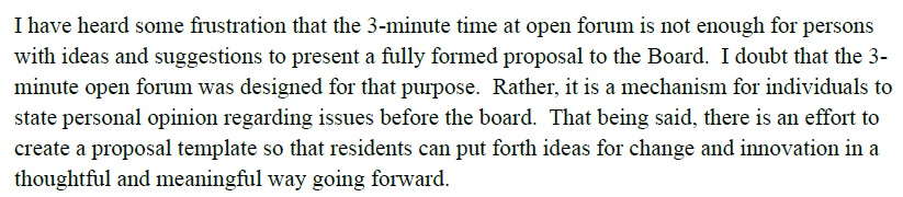 Excerpt from the April 2012 Board President's Report to the Board