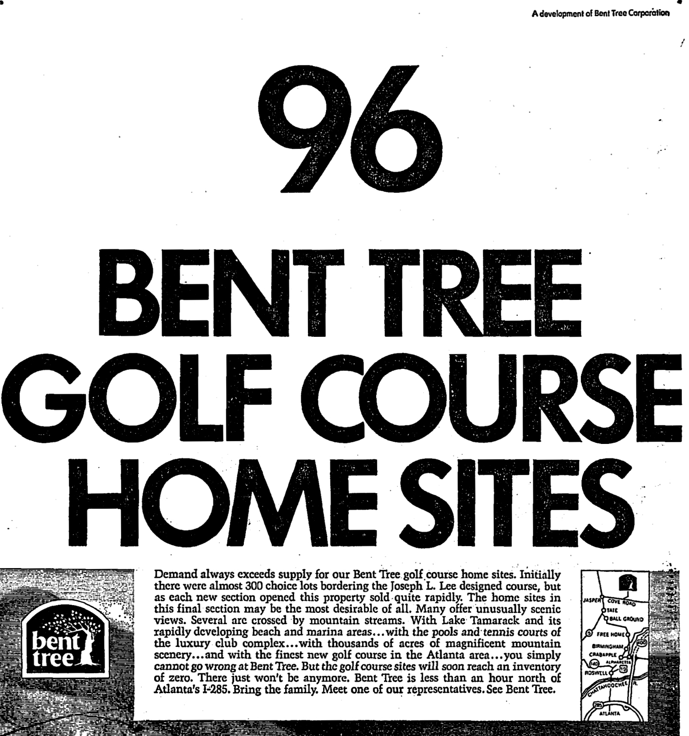 July 1972 Bent Tree advertisement