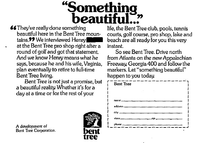 1973 advertisement for Bent Tree