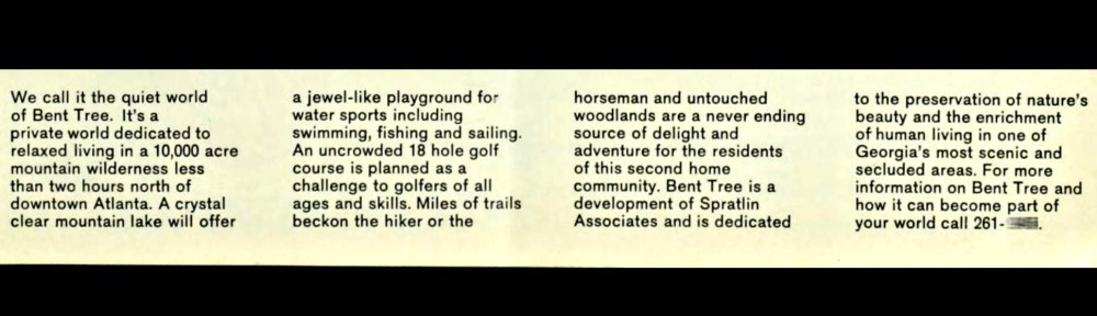 excerpt from 1970 advertisement for Bent Tree