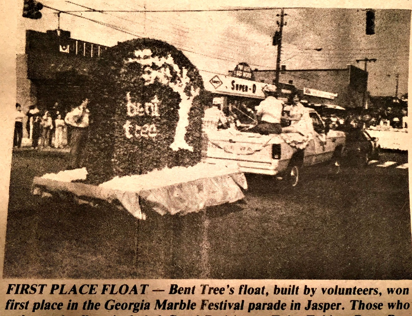 Bent Tree's logo float won first place during the 1984 Georgia Marble Festival parade