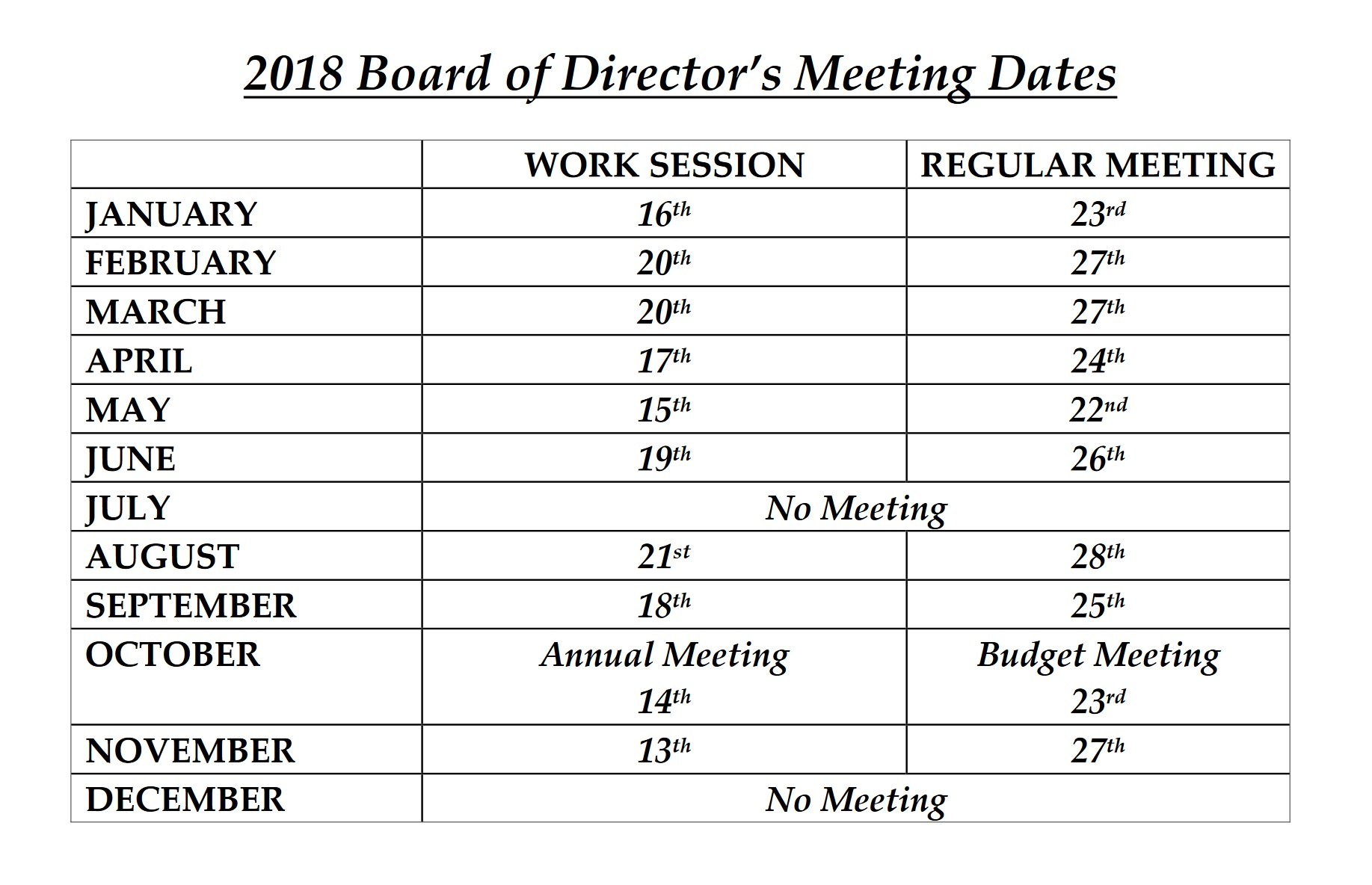 2018 board meetings