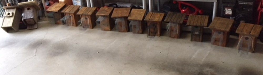 February 2018 - refurbished bluebird houses ready for installation