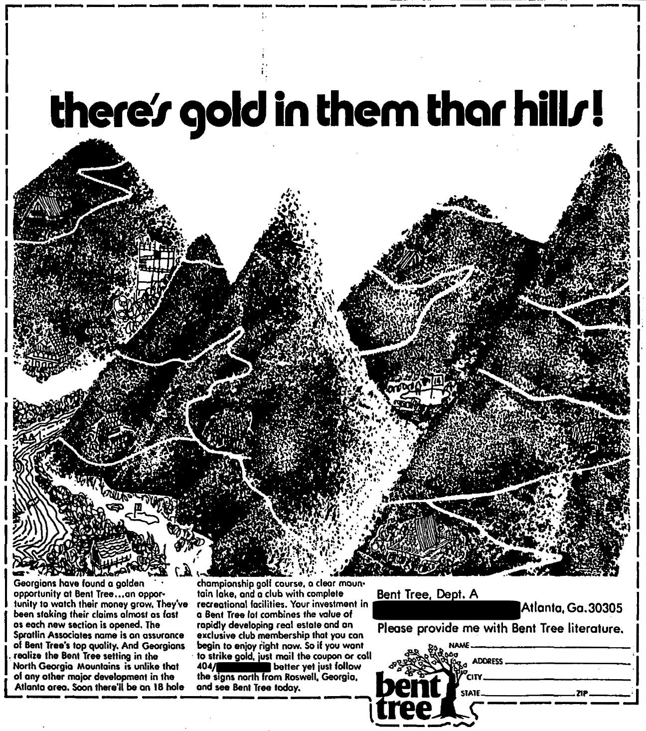 1970 advertisement for Bent Tree