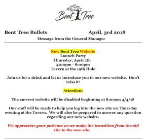 Excerpt form the April 3, 2018 Bent Tree Bullets