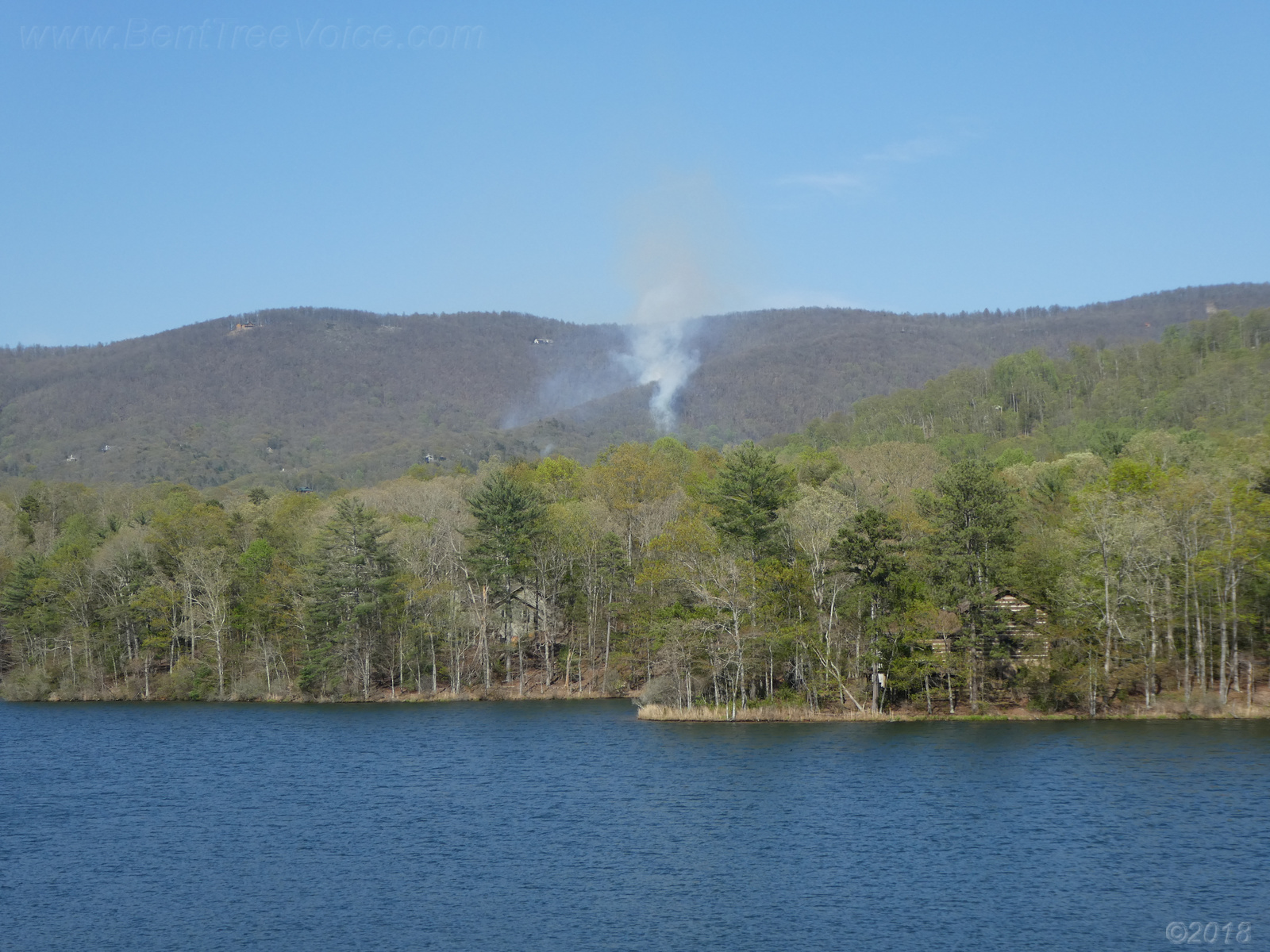 April 18, 2018 - smoke rising from the brush fire in Bent Tree