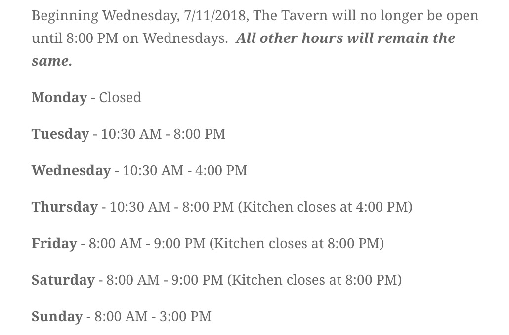 New hours beginning July 11, 2018