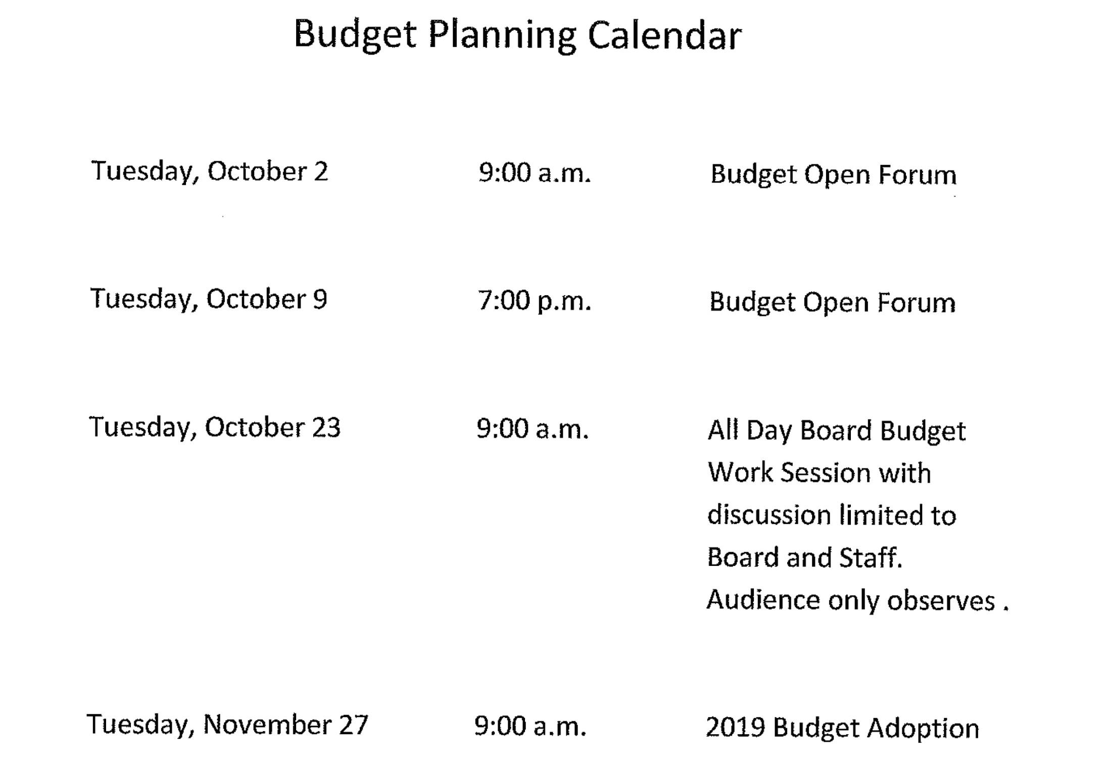 BTCI Budget Planning Calendar