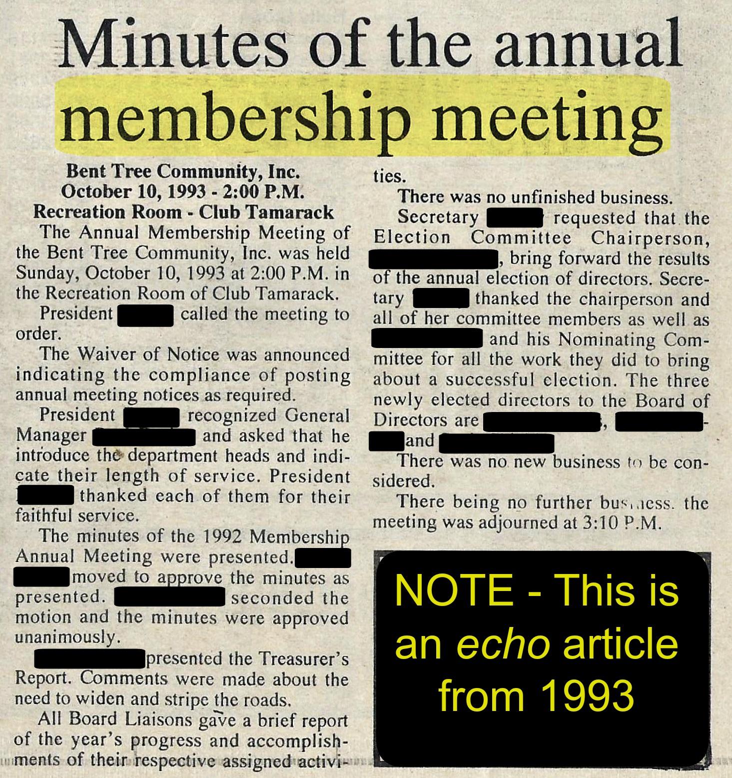 November 1993 echo article