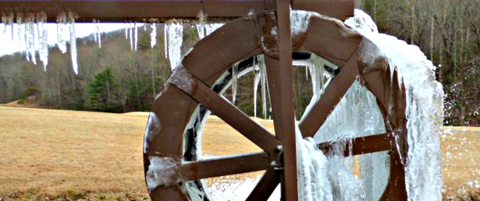 Icy water wheel on Hole 3 (from a previous year's Ice Breaker Tournament)