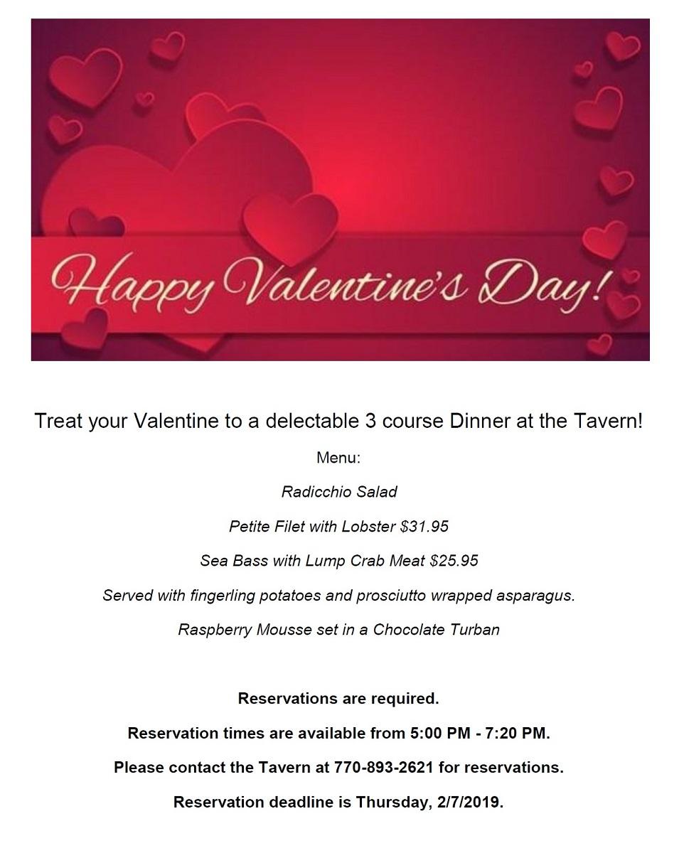 Flyer for Bent Tree's Valentine's Dinner
