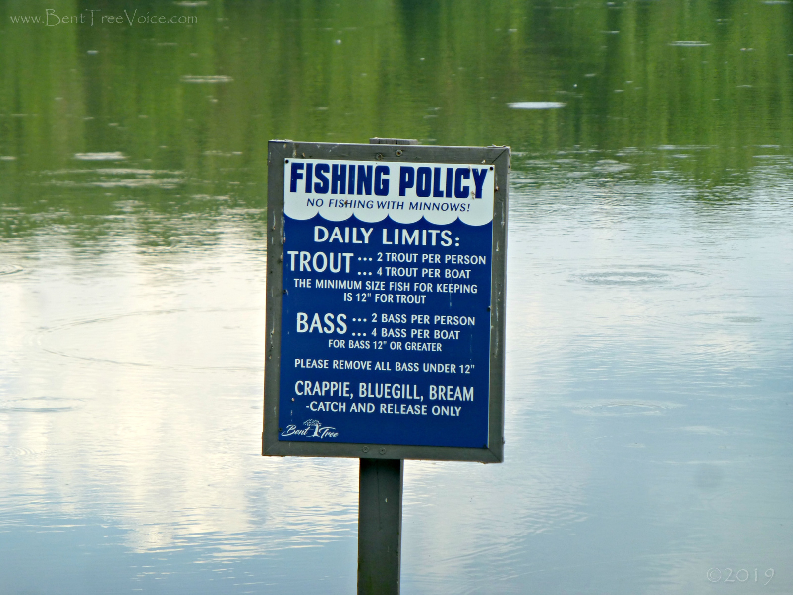 June 17, 2019 - revised Fishing Policy sign