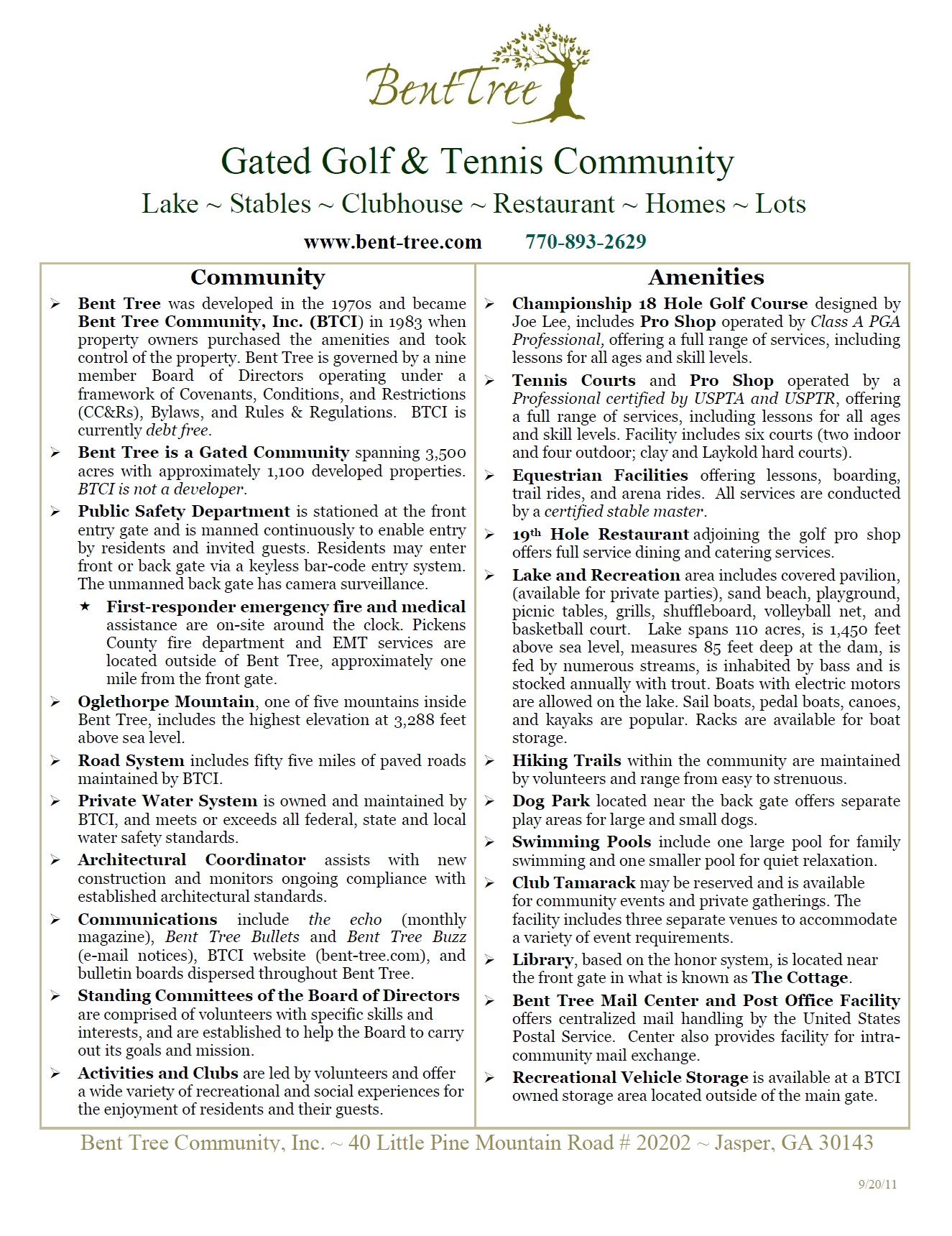 2011 Bent Tree Fact Sheet