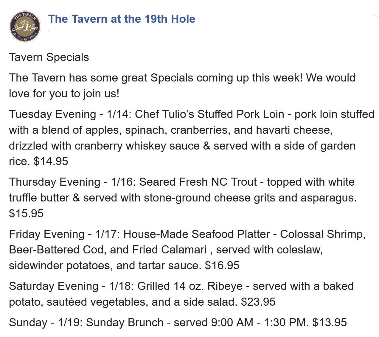 2019 0113 Tavern weekly specials