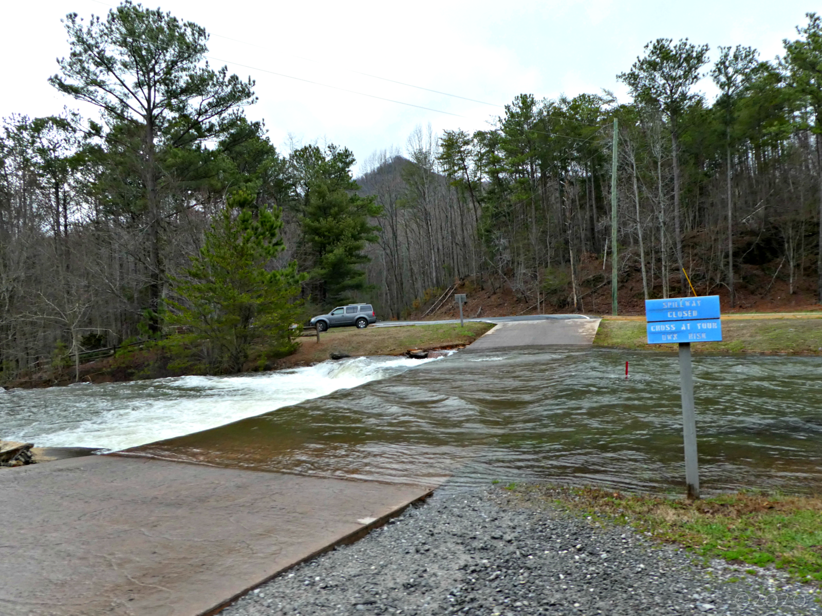 February 13, 2020 - Spillway flowing in Bent Tree